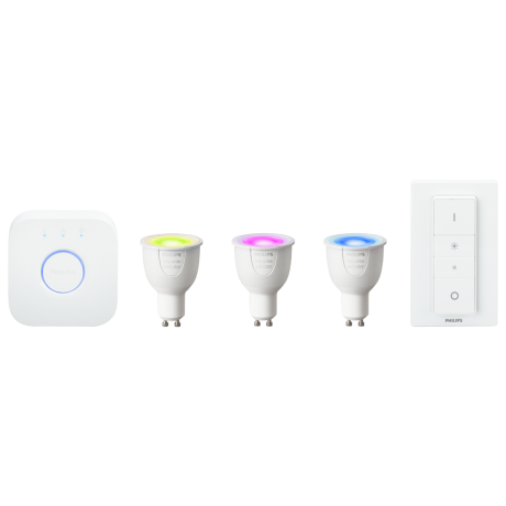 Philips Hue White Color Ambiance GU10 – Startsæt + dimming switch